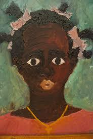 black americana antique folk art oob portrait 1965 black girl pink dress gold cross