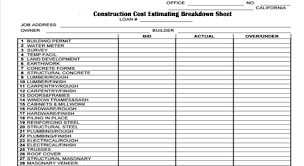construction cost sheet template aiyin template source
