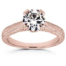 style moissanite and diamond engagement ring 1 ctw in 14k rose gold