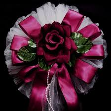 velvet roses 24 satin edge organza ribbon with pearl tails and velvet roses