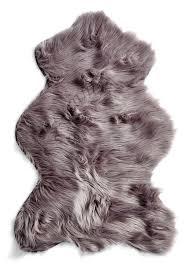 decor australian sheep faux fur rug in silver gray for floor