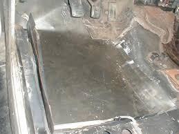 replacing a car floor installing a floor pan home made from