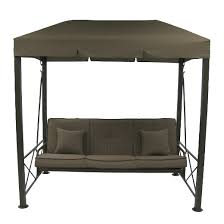 3 person steel patio swing with gazebo top cover brown target