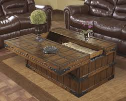 Modern Brown Leather Sofa Furniture Traditional Modern Brown Wood Trunk Coffee Table With
