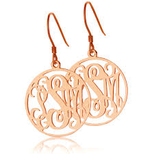 monogram earrings circle monogram initial earrings gold
