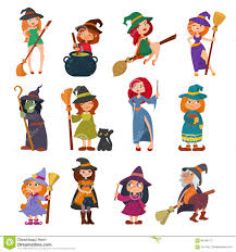 cute little witch hag harridan vixen with broom cartoon magic