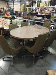 chromcraft vintage mid century modern dinette table with 6 swivel