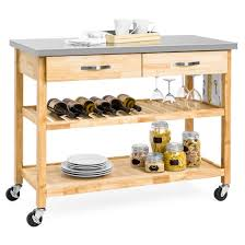 kitchen island stainless best choice products 3 tier wood rolling kitchen island utility
