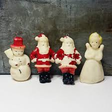 4 vintage tavern gurley wax christmas ornaments hollow candle