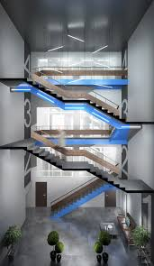 design of the lobby and the staircase in an office center