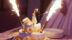 sparkler candles for cakes wedding cake with burning fireworks stock footage 8246974