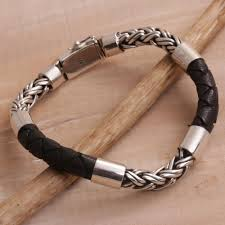 leather with silver bracelet images Leather bracelets unique leather bracelet collection at novica jpg