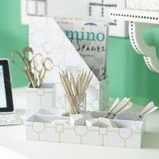 Green Desk Accessories Printed Paper Desk Accessories Set Metallic Gold Geo Pbteen