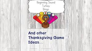 beginning sound turkey bingo and other thanksgiving ideas