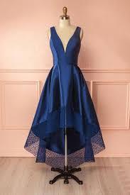 dark blue aline satin lace vneck high low simple bridesmaid prom