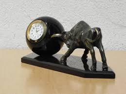 Mid Century Modern Desk Clock by Brass Bull Pushing Black Marble Ball Desk Clock Sculpture I Like