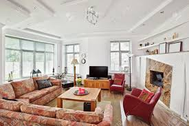 modern art deco style drawing room interior with fireplace and