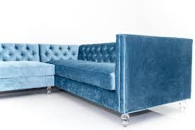 Blue Velvet Sectional Sofa by Sectional Sofa In Cornflower Blue Velvet Modshop