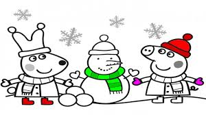 peppa pig fun in the snow coloring book pages videos for kids