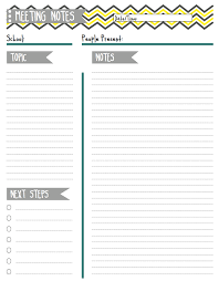 free pretty printable meeting agenda templates notes template
