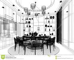 Room Sketch Abstract Sketch Design Of Interior Dining Room Stock Illustration