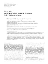 enhancement of heat transfer by ultrasound review and recent advances