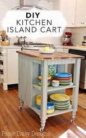 this rolling kitchen island features a beautiful butcher block