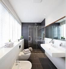 los angeles curbless shower floor bathroom contemporary with art