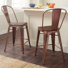 Copper Bistro Chair Carbon Loft Tabouret 24 Inch Wood Seat Brushed Copper Bistro