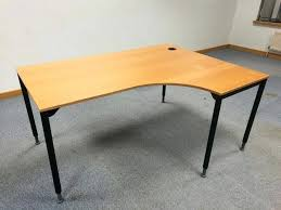 ikea galant right hand curved office desk table with adjule legs feet bargain aikea corner size