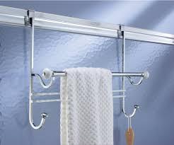 glass shower door towel bar replacement amazon com mdesign bathroom over shower door towel bar rack with