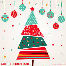 retro card with tree and ornaments stock vector image