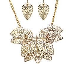 fashion necklace gold images Fashion chic hollowed out gold leaf bib necklace earrings set jpg