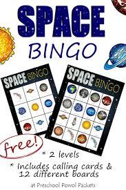 space bingo free solar system kindergarten and solar