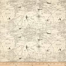 Map Fabric 5 Yards Map Fabric Premier Prints Vintage Plane Air Traffic