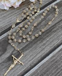 baptism rosary fast shipping handcrafted beautiful gold rosary imported