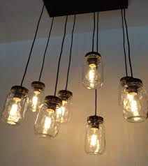 Canning Jar Lights Chandelier Mason Jar 8 Light Pendant Chandelier New Quart Clear The Lamp Goods
