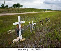 roadside memorial crosses roadside memorial crosses near cochrane alberta canada stock