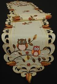 Fall Table Runners by Owl Tablecloth Table Runner Doily Cushion Cover Linen Look Cream