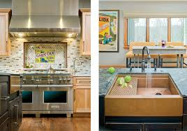a gourmet kitchen for grownups the central island is a lesson in textures including a sleek copper sink and counters of wire brushed granite and butcher block photography by vince lupo