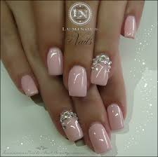 somethings about nail art rhinestone baby pink nails with crystals u0026 pearls sculptured acrylic with