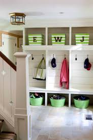 love the baskets under bench for shoes and baskets above for