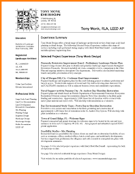 resume templates horticulture and landscape design architect