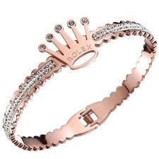 rolex bracelet diamonds images Rolex crown mark diamonds embellished rose gold bracelet for lady jpg