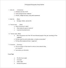 narrative essay outline exle biography outline template 10 free sle exle format