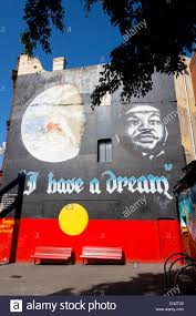 i have a dream martin luther king mural on aboriginal flag stock martin luther king i have a dream mural on aboriginal flag background king street