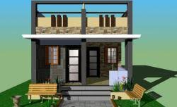 Row Houses Elevation - 35 by 45 gharexpert 35 by 45