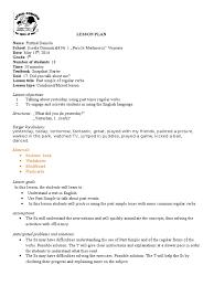 lesson plan 5th grade past tense of regular verbs lesson plan