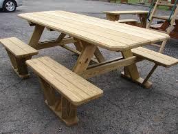 wood picnic table table design ideas wood picnic bench treenovation