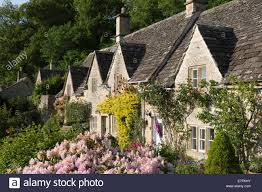 cotswolds cottage cotswold cottages and summer garden bibury cotswolds stock photo